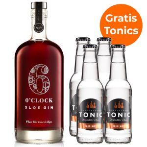 6 O'Clock Sloe Gin 70cl Promopakket