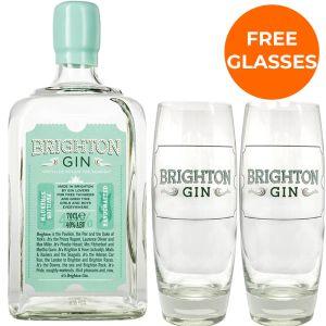 Brighton Gin Pavilion Strength 70cl Promo Pack Free Glasses