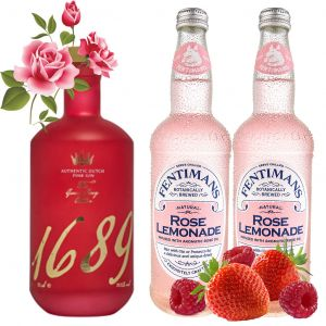 Gin 1689 Pink Gin and Rose Lemonade Pack 70cl & 2 x 500ml