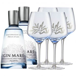 Gin Mare 70cl Twin Pack with Free Glasses