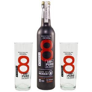 Ocho Tequila Blanco No. 8 Black 50cl Promo Pack